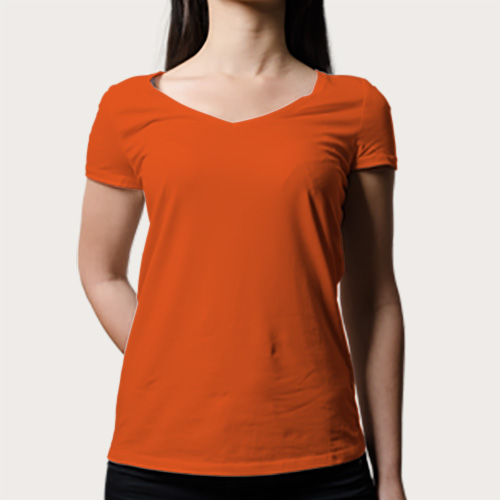 Women V Neck Half Sleeves Orange image