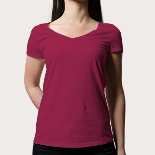 Women V Neck Half Sleeves Pink image