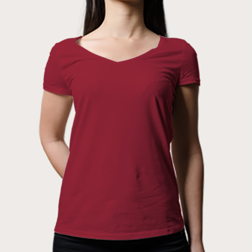 Women V Neck Half Sleeves Radical Red image