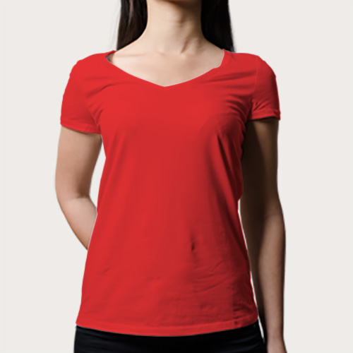 Women V Neck Half Sleeves Red image