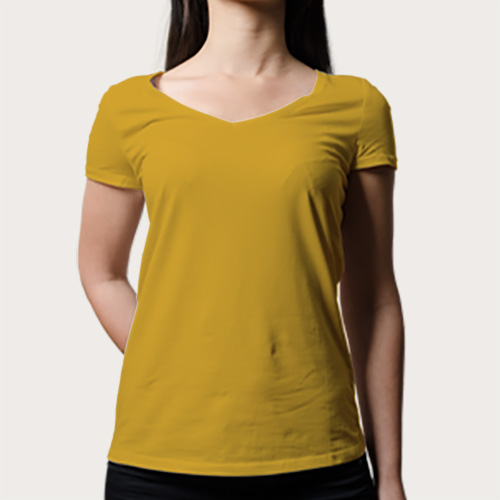 Women V Neck Half Sleeves Yellow image